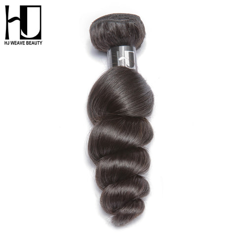 [HJ WEAVE BEAUTY]Peruvian Virgin Hair Loose Wave 100% Human Hair Bundles Natural Color Free Shipping