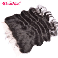 Wonder girl 13x4 Body Wave Lace Frontal Closure With Baby Hair Free Part Brazilian Frontal Remy Hair Bundles