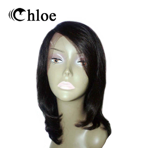 Chloe Brazilian Remy Human Hair Straight Lace Front Wigs Natural Color 12'' For Woman