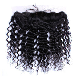 CARA Deep Wave Brazilian Remy Hair Natural Color 13x4 Lace Frontal Closure Pre Plucked With Baby Hair