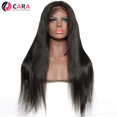 CARA Straight 250% Density Lace Front Human Hair Wigs Non-Remy Hair Pre Plucked Natural Hairline With Baby Hair