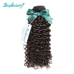 Rosabeauty Kinky Curly Brazilian Hair Weaving 1 PC Natural Color Remy Hair Bundles Curly Weave Human Hair Weft