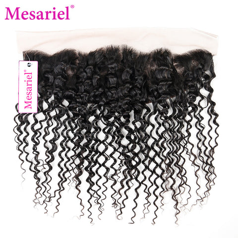 Mesariel Remy Hair Brazilian Kinky Hair Lace Frontal Closure Free Shipping Natural Color Human Hair Curly Hair Frontal