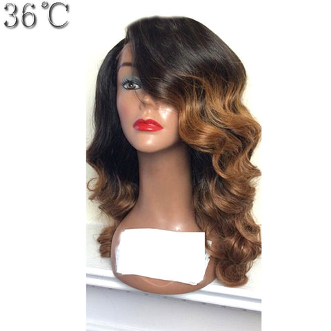 36C Ombre Glueless Lace Front Wigs Human Hair Brazilian Non-Remy Hair Body Wave Wigs #1BT8 Color Pre Plucked Hairline For Women