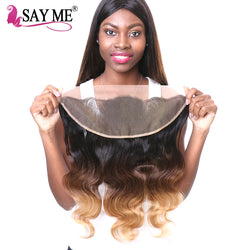 SAY ME Ombre Malaysian Body Wave Hair 13x4 Ear To Ear Pre Plucked Lace Frontal Closure Non Remy 100% Human Hair 1B/4/27