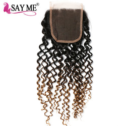 SAY ME Ombre Brazilian Kinky Curly Closure 1b/4/27 Blonde 3 Three Tone Free Part 4x4 Non Remy Human Hair Lace Closure Piece