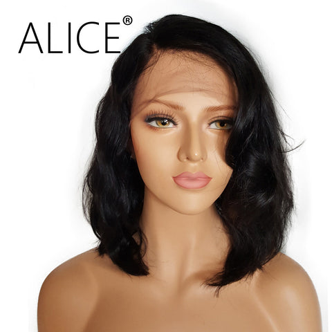 ALICE Short Glueless Lace Front Human Hair Wigs With Baby Hair 8 inch to 16 Inch Brazilian Remy Wavy Bob Wigs Bleached Knots