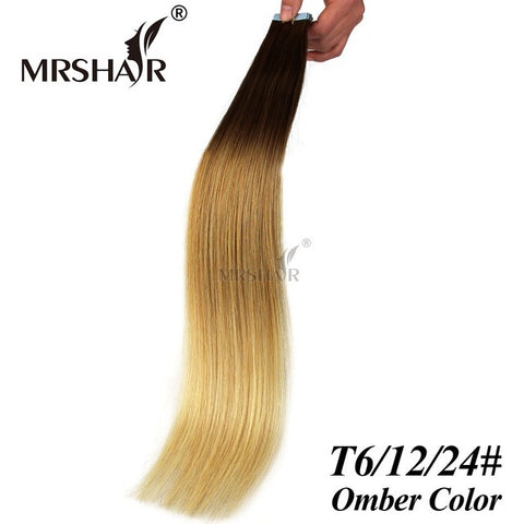 "MRSHAIR 22"" Ombre Tape Extensions 20pcs Brazilian Straight Skin Weft Hair Extensions Ombre Natural Human Hair Tape In T6/12/24#"