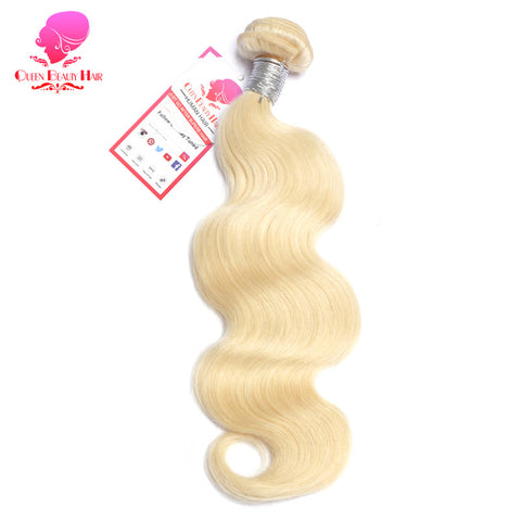 QUEEN BEAUTY HAIR Brazilian Body Wave Remy Hair Weft 613 Blonde Hair 12inch To 30inch Human Hair Weave Bundles Free Shipping