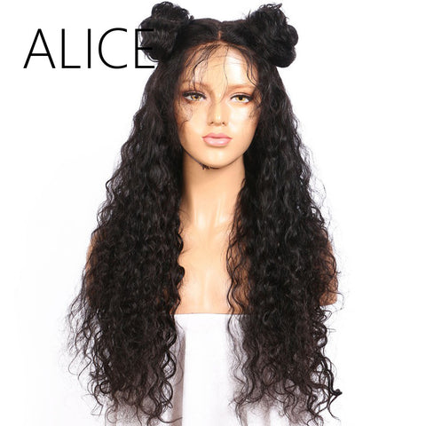 ALICE Pre Plucked Full Lace Human Hair Wigs With Baby Hair For Black Women Remy Brazilian Kinky Curly Lace Wig Natural Black