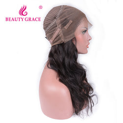 Beauty Grace 360 Lace Frontal Wig 150% Density 16-20inch Pre Plucked Brazilian Body Wave Non-Remy Human Hair Wig For Black Women