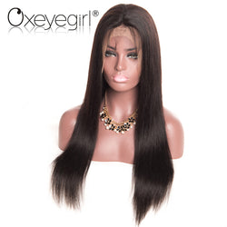 "[Oxeye girl] Brazilian Straight Lace Front Human Hair Wigs For Women Pre Plucked Wigs Non-Remy Hair Wig With Baby Hair 8""-24"""
