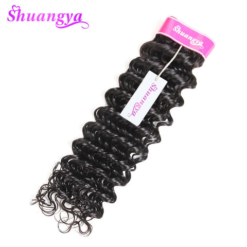 "shuangya hair brazilian non-remy human hair deep curly hair extensions 10"" to 28"" natural color free shipping for black women"