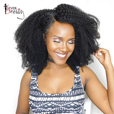 Ever Beauty Afro Kinky Curly Human Hair Weaving 4B 4C Mongolian Non-remy Hair Natural Black 10-22inch
