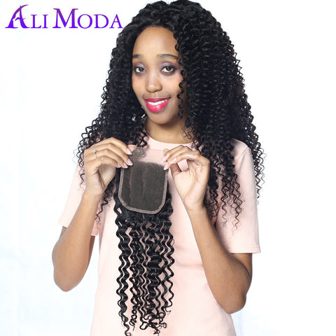 Ali Moda Hair Products Brazilian Curly Hair Swiss Lace Closure 130% Density Human Hair 4x4'' Lace Closure Free Part Remy Hair
