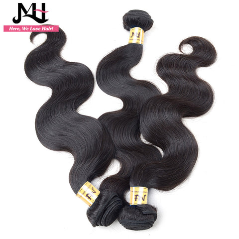 "JVH Peruvian Body Wave Human Hair Weave Bundles Remy Hair Extensions Machine Double Weft Natural Color 8""- 28""Inch"