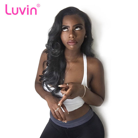 Luvin 360 Lace Frontal Wigs For Black Women Pre Plucked Body Wave 180% Density Brazilian Remy Hair 100% Human Hair Wigs