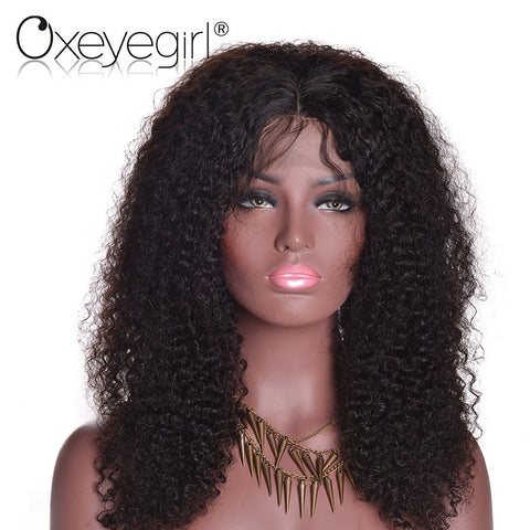 "[Oxeye girl] Kinky Curly Wig Brazilian Curly Hair Lace Front Human Hair Wigs With Baby Hair Non Remy Hair 8""-24"" Natural Black"
