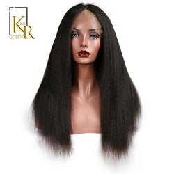 King Rosa Queen Kinky Straight Glueless Lace Front Human Hair Wigs For Black Women Italian Yaki Remy Hair line With Baby Hair