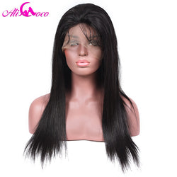 Ali Coco 130% Density Lace Front Wigs Brazilian Straight Human Hair Wigs For Black Women Natural Black 8-24' inch