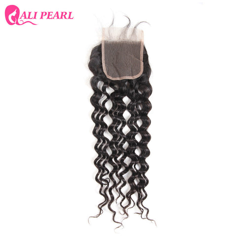 AliPearl Hair Brazilian Water Wave Lace Closure 4X4 inch Free Part Closure with Baby Hair Remy Human Hair Color 1b Free shipping