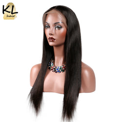 KL Hair Lace Front Human Hair Wigs Straight Natural Color Hairline Brazilian Remy Hair Lace Wigs For Black Women With Baby Hair