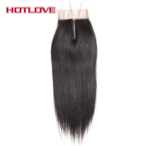 "Hotlove Hair Straight Lace Closure Middle Part 4x4 Size Remy Human Hair  8""-18"" Natural color"