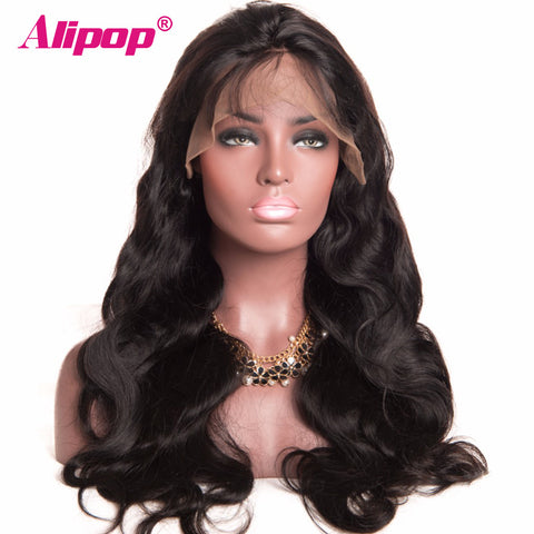 "[ALIPOP] Brazilian Body Wave Full Lace Human Hair Wigs For Black Women With Baby Hair 8""-24"" Lace Wig Non Remy Free Shipping"