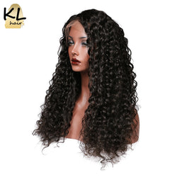 KL Hair Deep Wave Lace Front Human Hair Wigs Natural Color 1B Brazilian Remy Hair Lace Wigs For Black Women With Baby Hair