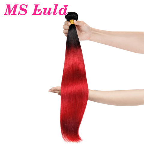 MS Lula Hair 1 Bundle Straight Ombre Brazilian Hair Black to Red Color 100% Human Hair Remy Weave Free Shipping