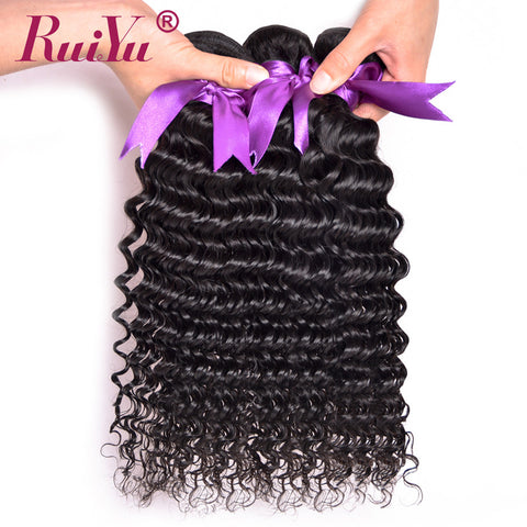 RUIYU Hair Peruvian Deep Wave Human Hair Weave Bundles Non Remy Hair Extension 1 Bundle Natural Black Color Hair Free Shipping