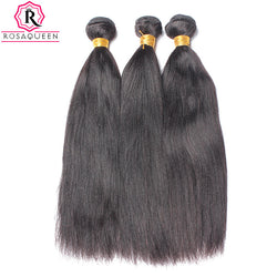 Yaki Straight Human Hair Weave Bundles Brazilian Remy Hair Light Yaki Natural Black Color 1 Piece Rosa Queen Hair Products