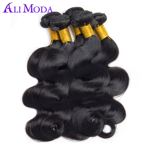 Ali Moda Hair Brazilian Body Wave 100 Human Hair Weave Bundles 1pc Free Shipping 10-28 inch Non-Remy Hair Extensions Double Weft