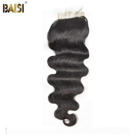 BAISI Brazilian Body Wave Swiss Lace Closure, Free Part size 4*4, 100% Virgin Hair 10-18inch Free Shipping