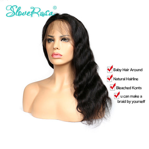 Slove Rosa 360 Lace Frontal Wigs Body Wave Brazilian Remy Human Hair Wigs For Black Women Natural Hairline With Baby Hair