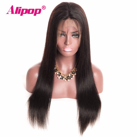 "[ALIPOP] 6""x12"" 150% Density Brazilian Straight Lace Front Human Hair Wigs For Black Women With Baby Hair Non Remy Lace Wig"