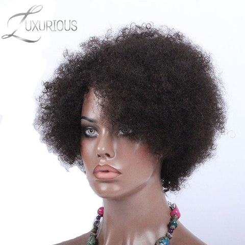 Luxurious None Lace Human Hair Wigs Brazilian Virgin Human Hair Natural Color Afro Kinky Curly For Black Women