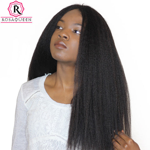 Kinky Straight Hair Brazilian Hair Weave Bundles Coarse Yaki 100% Human Remy Hair Extensions Rosa Queen Hair Products