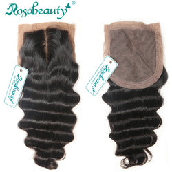 Rosabeauty Middle/Free Part Silk Base Closure Brazilian Hair100% Human Hair Wigs Loose Wave Top Closure Shipping Free