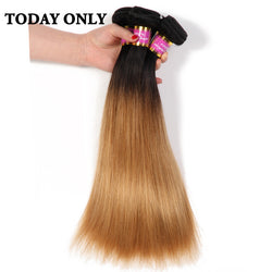 Today Only Blonde Brazilian Straight Hair Weave Bundles Ombre Human Hair Bundles Non-remy Two Tone Human Hair Extension 1b 27