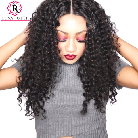 Rosa Queen Pre Plucked 360 Lace Frontal Closure Deep Wave Brazilian Remy Hair 100% Human Hair Natural Black Color 1 Piece