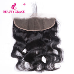 Beauty Grace Brazilian Body Wave 13x4 Ear To Ear Pre Plucked Lace Frontal Closure With Baby Hair Remy Human Hair Free Part