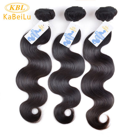"KBL Peruvian Virgin Hair Body Wave 12""-26"" 100% Hair Weave Bundles Unprocessed Human Hair Extension Color 1B Free Shipping"