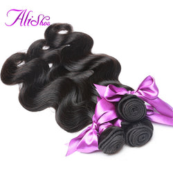Alishes Hair Brazilian Body Wave Human Hair Bundles 100g Natural Black Non-Remy Hair Weave 1 Piece Free Shipping