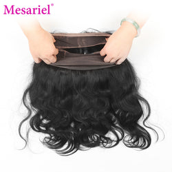 Mesariel Brazilian Body Wave 360 Lace Frontal Closure Free Shipping Non-remy Hair Natural Black Color 10-20inch Lace Closure