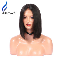 Alicrown Lace Front Human Hair Wigs For Black Women Straight Full End Brazilian Remy Hair Short Bob Wig Middle Part Pre Plucked