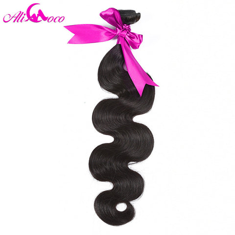 Ali Coco Hair Brazilian Body Wave Hair Extensions 10-28 inch 100% Remy Human Hair Bundles Free Shipping Natural Color