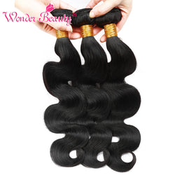 Wonder Beauty Brazilian Body Wave Hair 3 Bundles Remy Hair 100% Human Hair Extensions Natural Color 8-26 Inches FREE SHIPPING