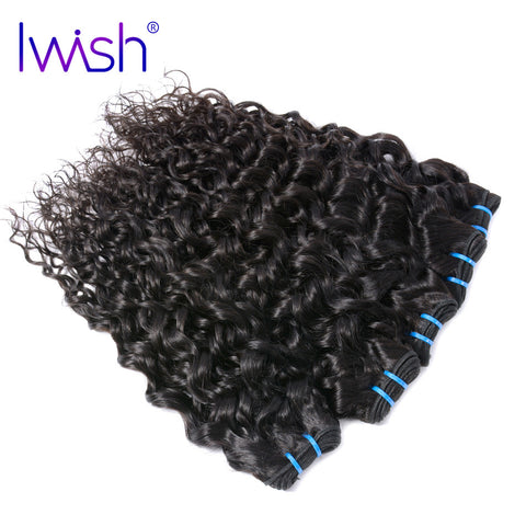Iwish Hair Brazilian Water Wave Hair 1 Piece 100% Human Hair Weave Bundles Non Remy Hair Extension Natural Color 10-28 inch