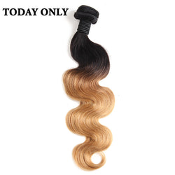 Today Only Blonde Hair Body Wave Ombre Brazilian Hair Weave Bundles Non-remy Two Tone Human Hair Extensions Tissage Bresilienne